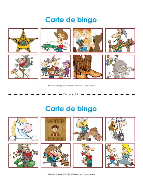 Bingo des cow-boy